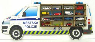3D Dřevěná Polička na Autička VW T5 Městská Policie
