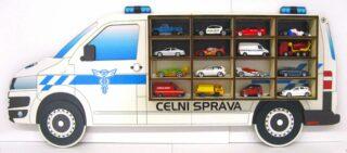 3D Dřevěná Polička na Autička VW T5 Celní Správa