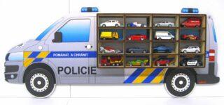 3D Dřevěná Polička na Autička VW T5 Policie