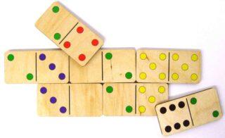 Dřevěné Domino Miní Barevné 28ks klasické v dřevěné krabičce
