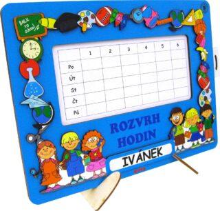 Dětský 2D dřevěný Rozvrh hodin