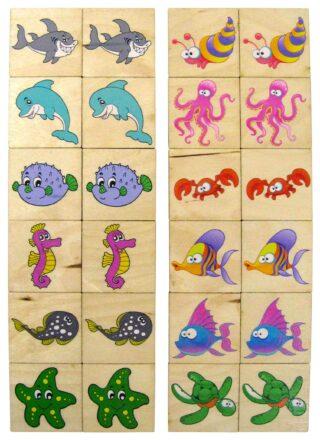 Dřevěné Pexeso 24ks Mořská Zvířátka v dřevěné krabičce