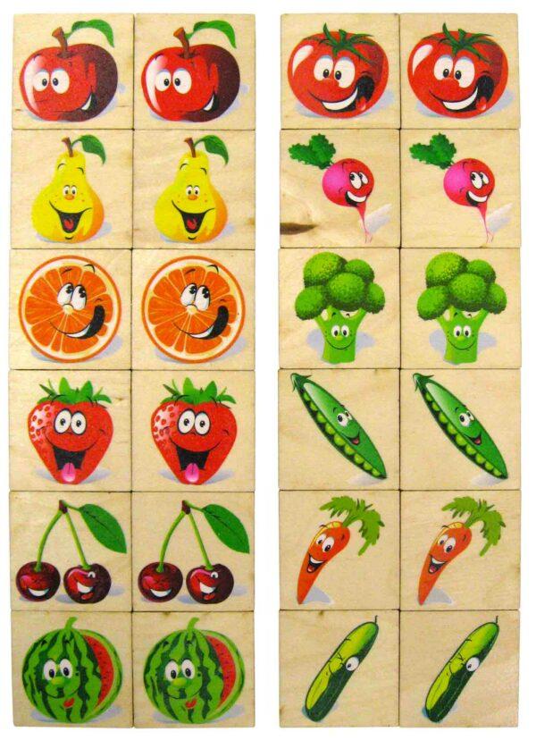 Dřevěné Pexeso 24ks Zelenina a Ovoce v dřevěné krabičce
