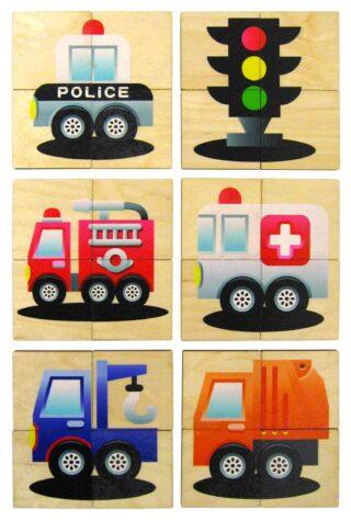 Dřevěné Puzzle Mini 4ks Auta v dřevěné krabičce
