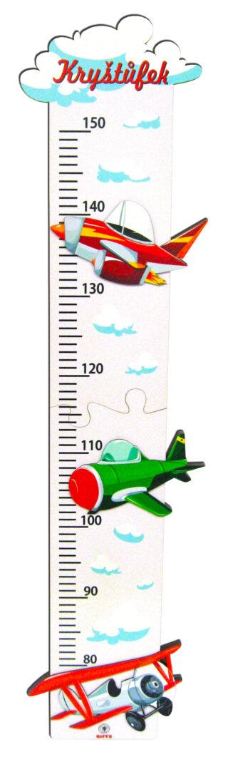 Dětský 2D dřevěný metr nastenný - Letadla