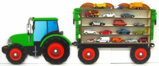 3D Dřevěná Polička na Autička - Traktor s přívěsem Malý