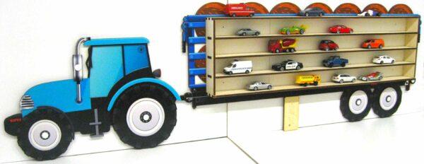 3D Dřevěná Polička na Autička - Traktor s přívěsem Velký