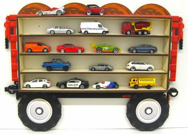 3D Dřevěná Polička na Autička - Malý přívěs na Traktor