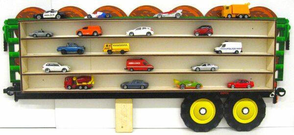 3D Dřevěná Polička na Autička - Velký přívěs na Traktor