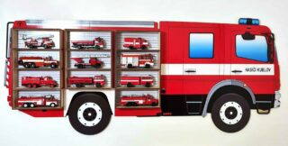 3D Dřevěná Polička na Autička - Hasiči Mercedes MK94 Na modely 1:18 a 1:24